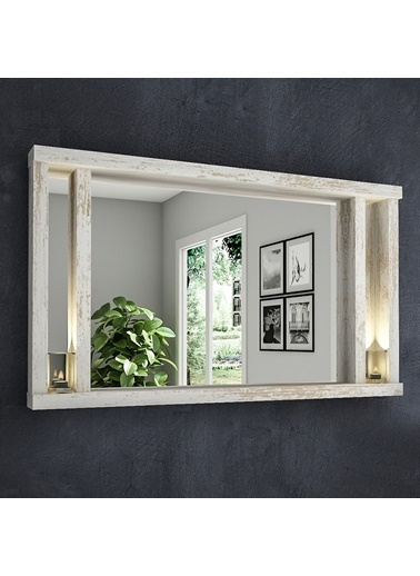 222 Concept Dream Masif Ağaç Beyaz Renk 75x45 cm Ayna CPT2312-75 Beyaz
